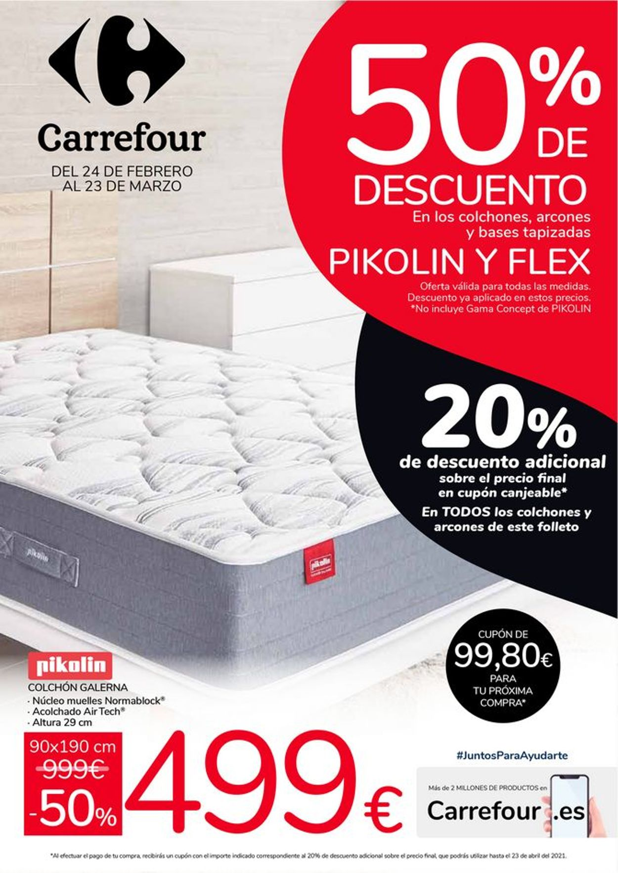 Carrefour 50% de descuento en Pikolin y Flex Folleto - 24.02-23.03.2021