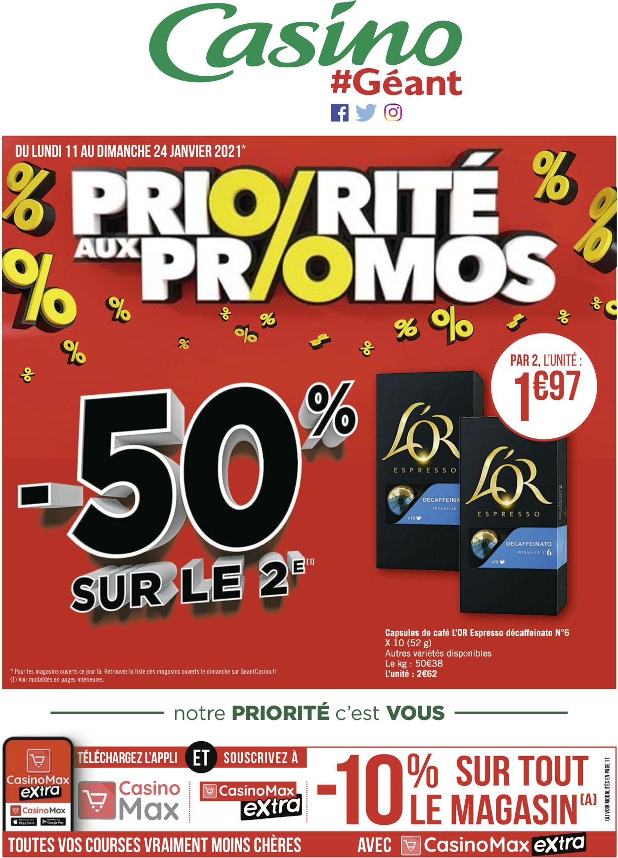 Géant Casino Priorité aux promos 2021 Catalogue - 11.01-24.01.2021