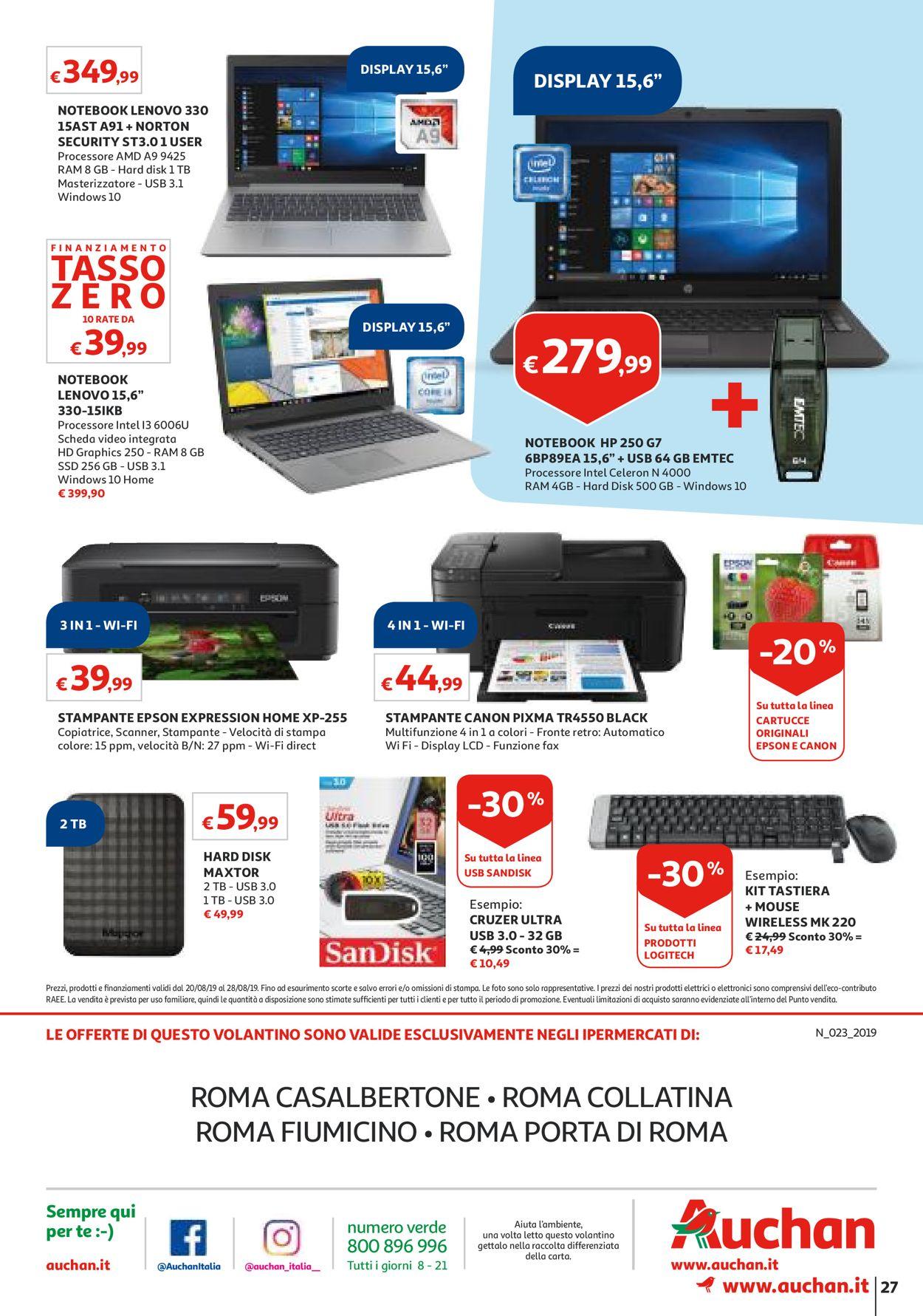 Volantino Auchan - Offerte 20/08-28/08/2019 (Pagina 27)