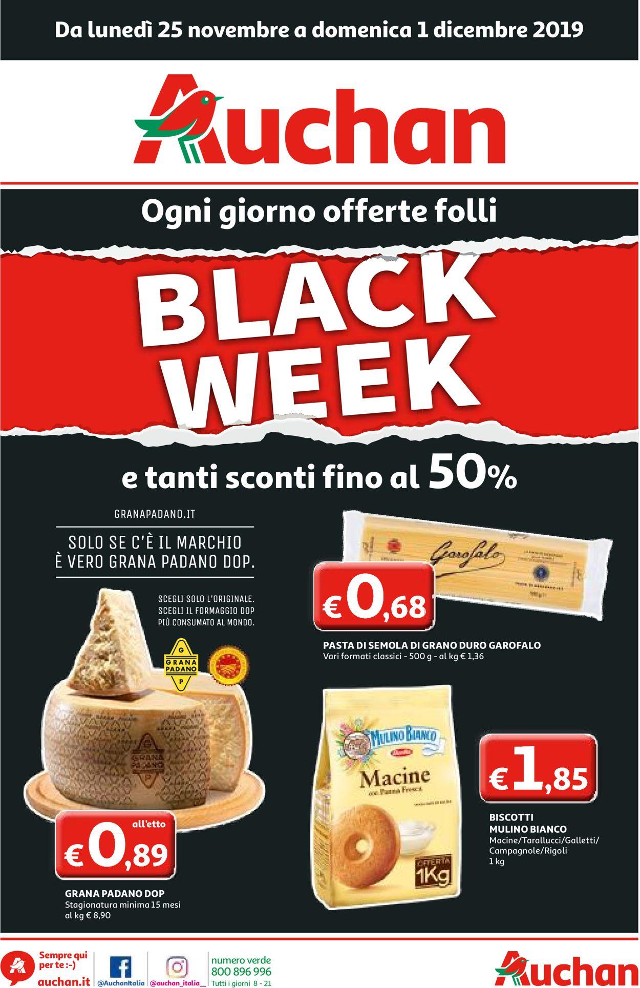 Volantino Auchan Black Friday 2019 - Offerte 25/11-01/12/2019