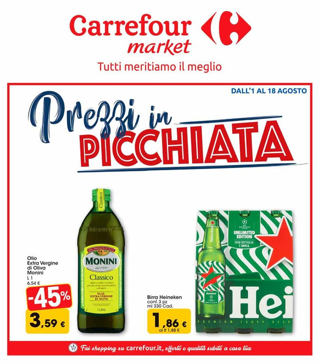 Volantino Carrefour - Offerte 01/08-18/08/2019