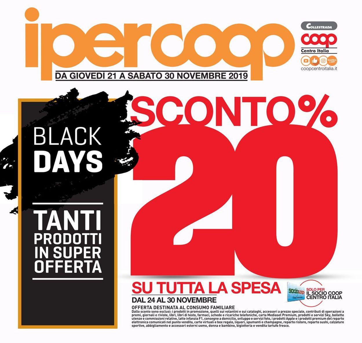 Volantino Coop BLACK DAYS 2019 - Offerte 21/11-30/11/2019
