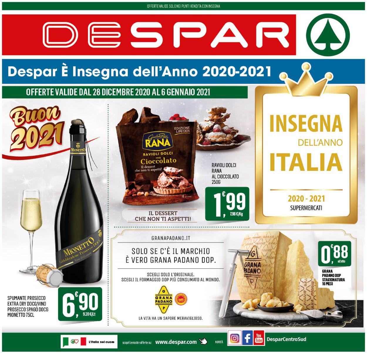 Volantino Despar -  Capodanno 2021 - Offerte 28/12-06/01/2021