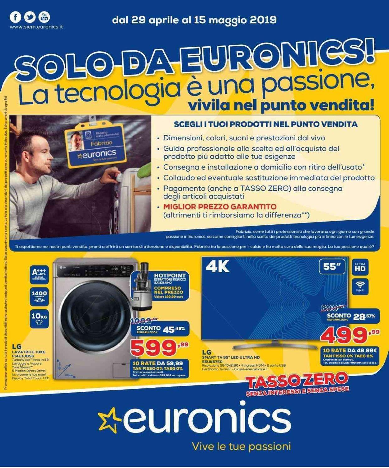 Volantino Euronics - Offerte 29/04-15/05/2019