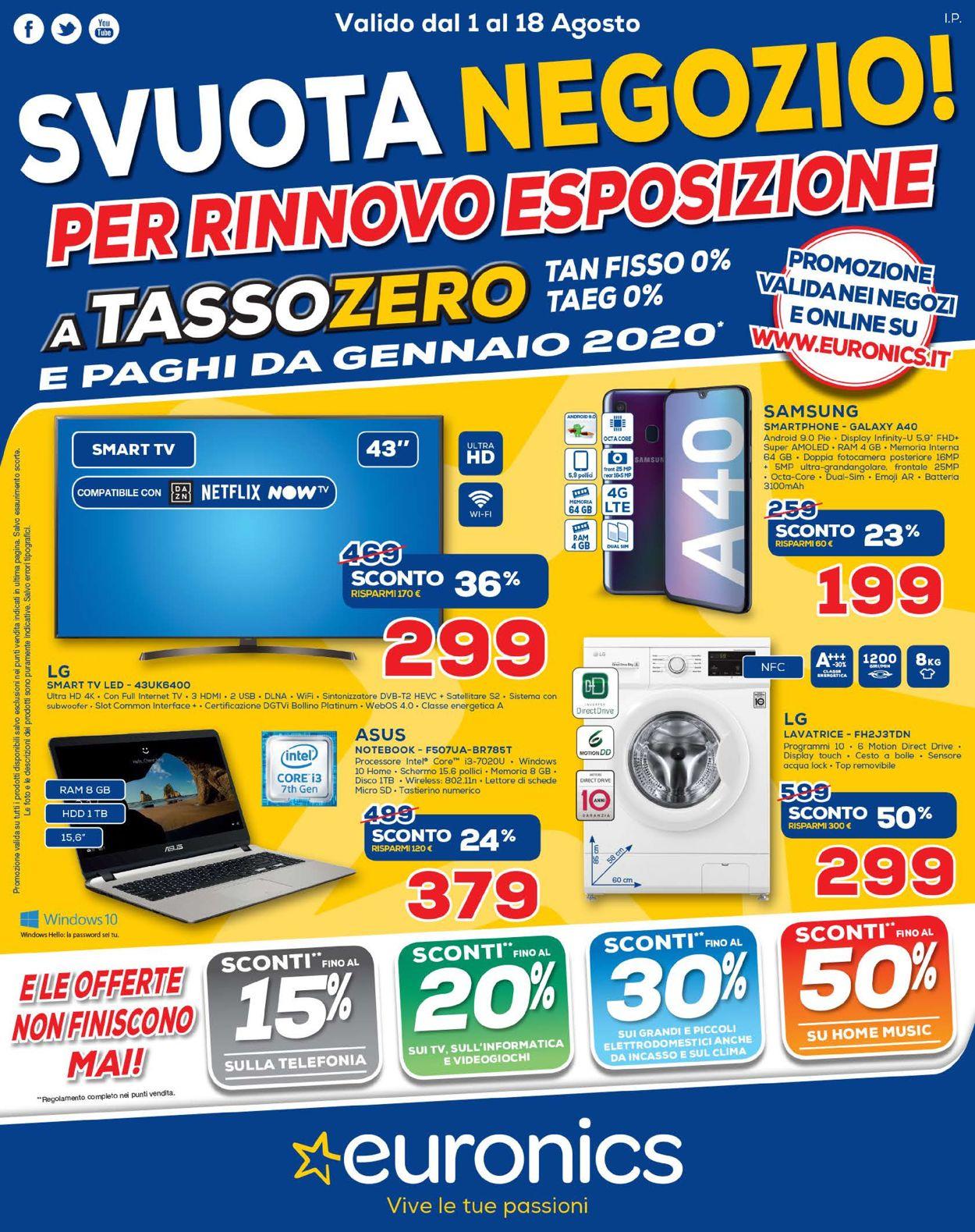 Volantino Euronics - Offerte 01/08-18/08/2019