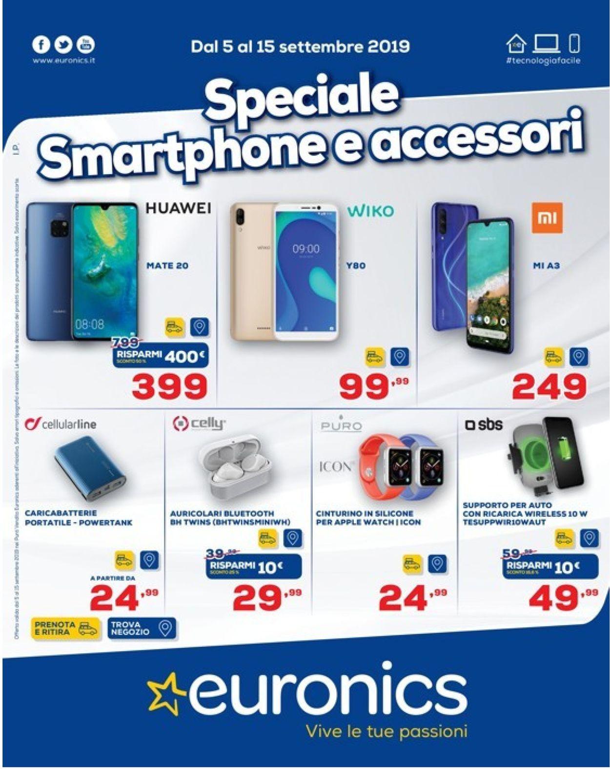 Volantino Euronics - Offerte 05/09-15/09/2019