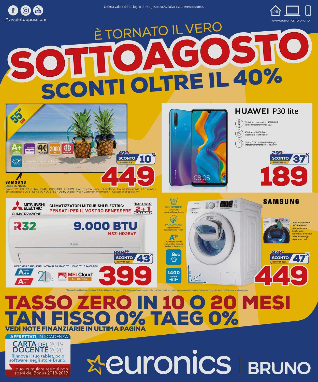 Volantino Euronics - Offerte 30/07-16/08/2020
