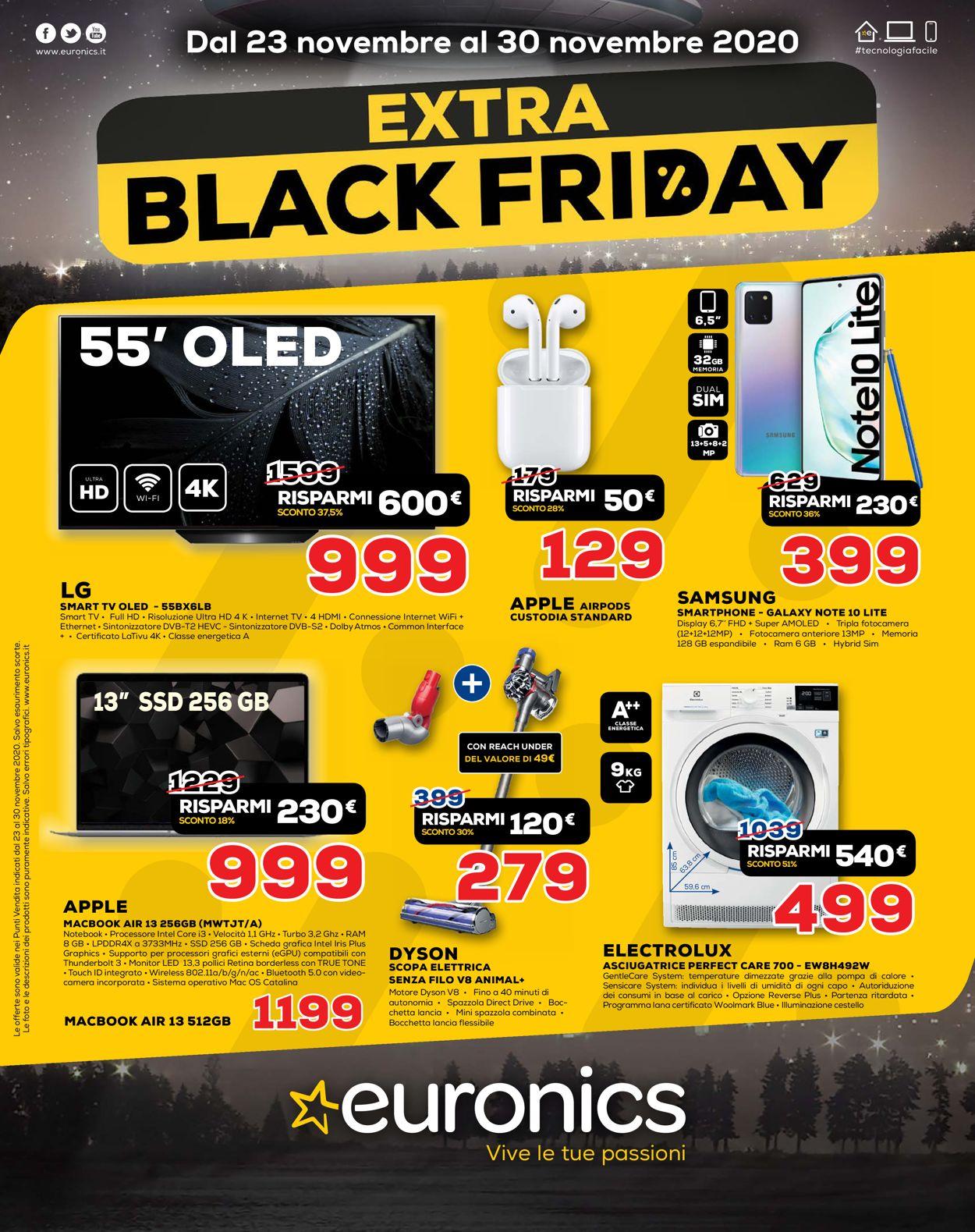 Volantino Euronics Black Friday 2020 - Offerte 23/11-30/11/2020