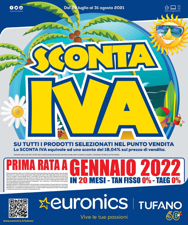 Volantino Euronics - Offerte 29/07-31/08/2021