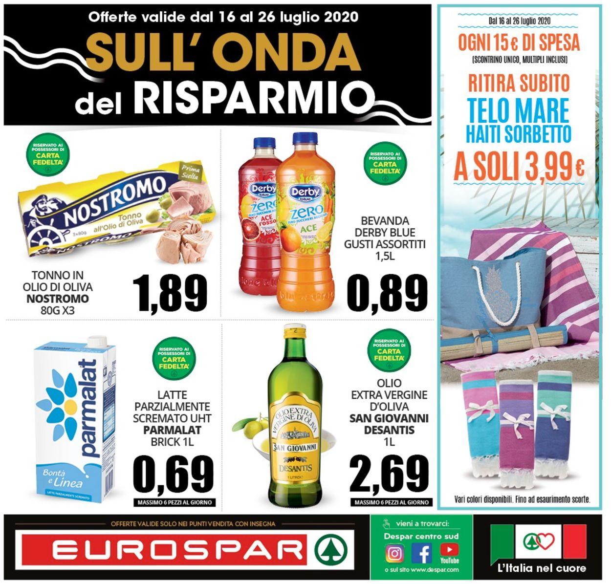 Volantino Eurospar - Offerte 16/07-26/07/2020