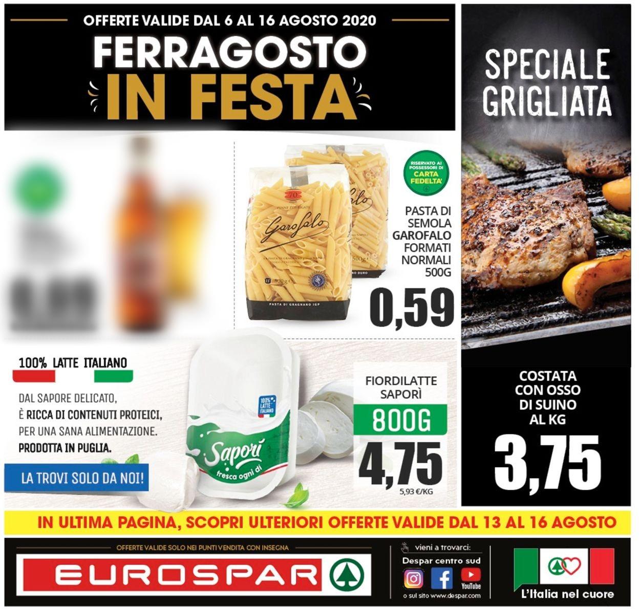 Volantino Eurospar - Offerte 05/08-16/08/2020
