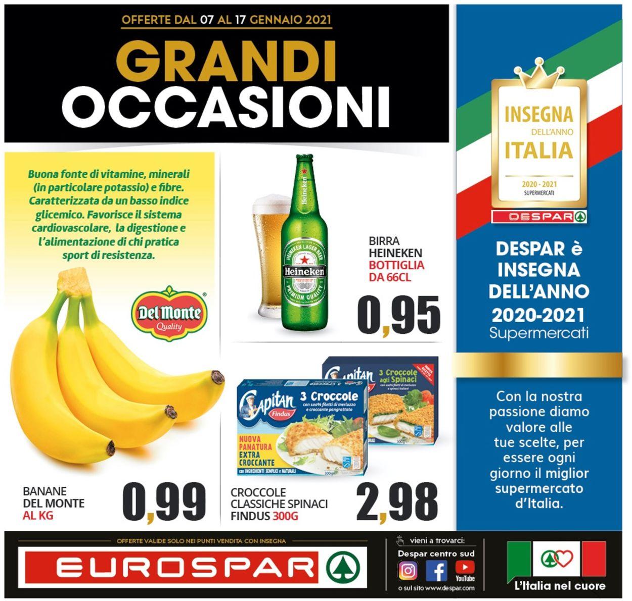 Volantino Eurospar - Offerte 07/01-17/01/2021
