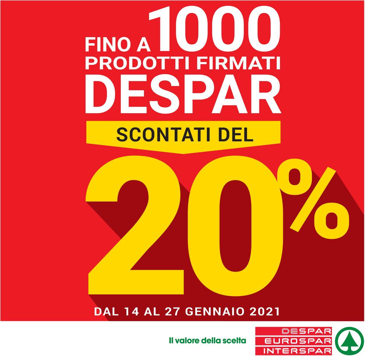 Volantino Eurospar - Offerte 14/01-27/01/2021