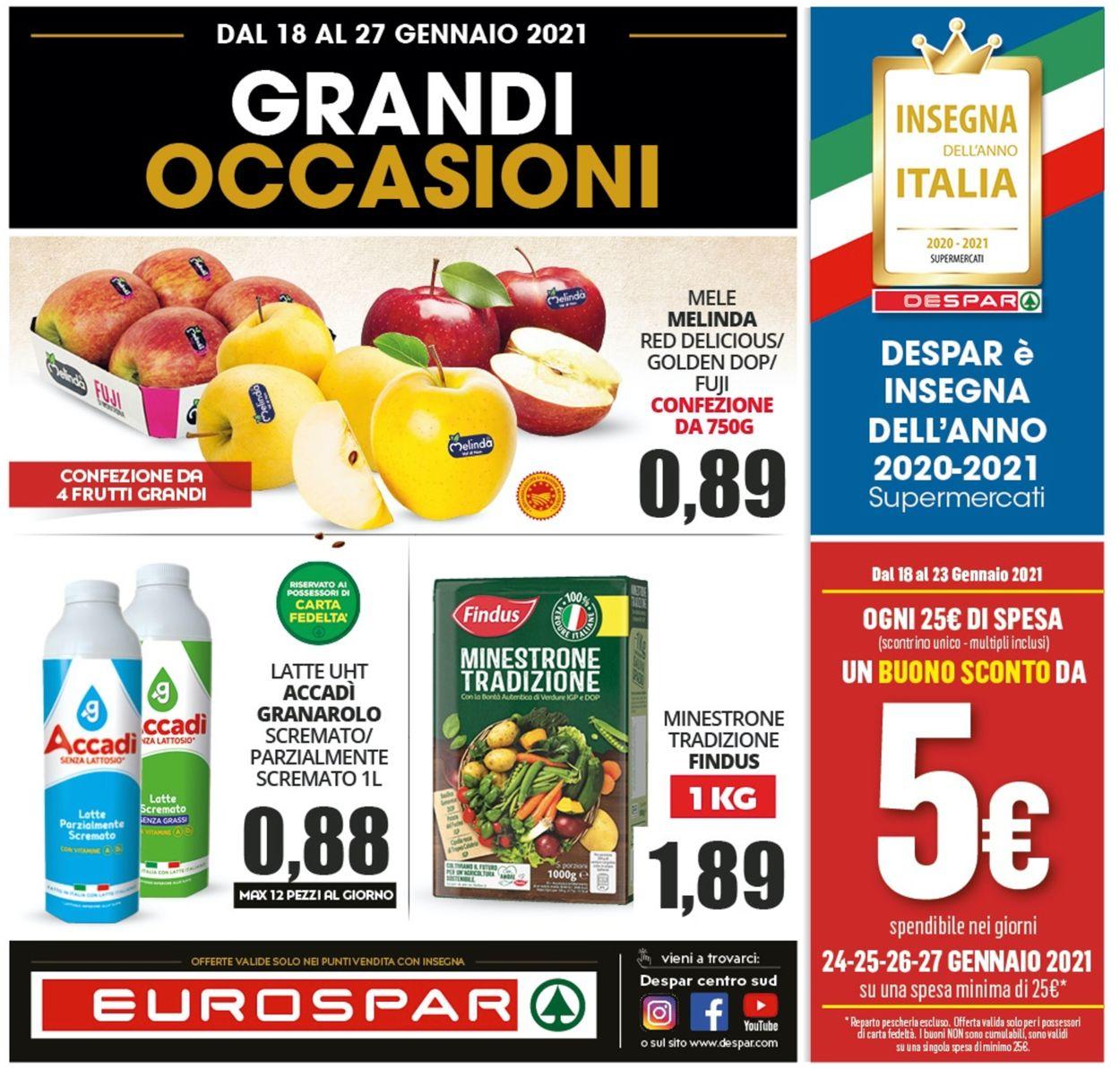 Volantino Eurospar - Offerte 18/01-27/01/2021