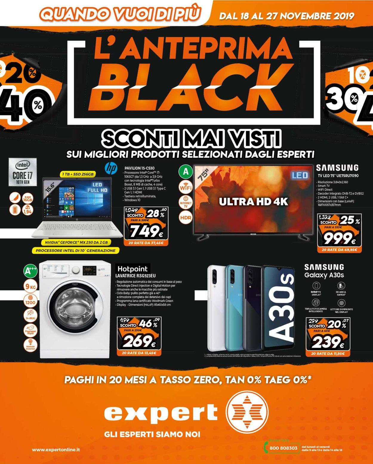 Volantino Expert L'ANTEPRIMA BLACK FRIDAY 2019 - Offerte 18/11-27/11/2019