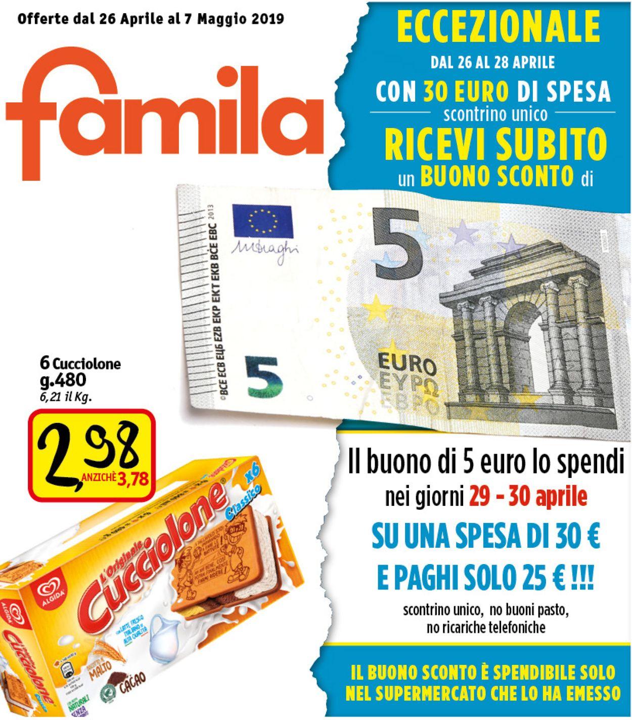 Volantino Famila - Offerte 26/04-07/05/2019