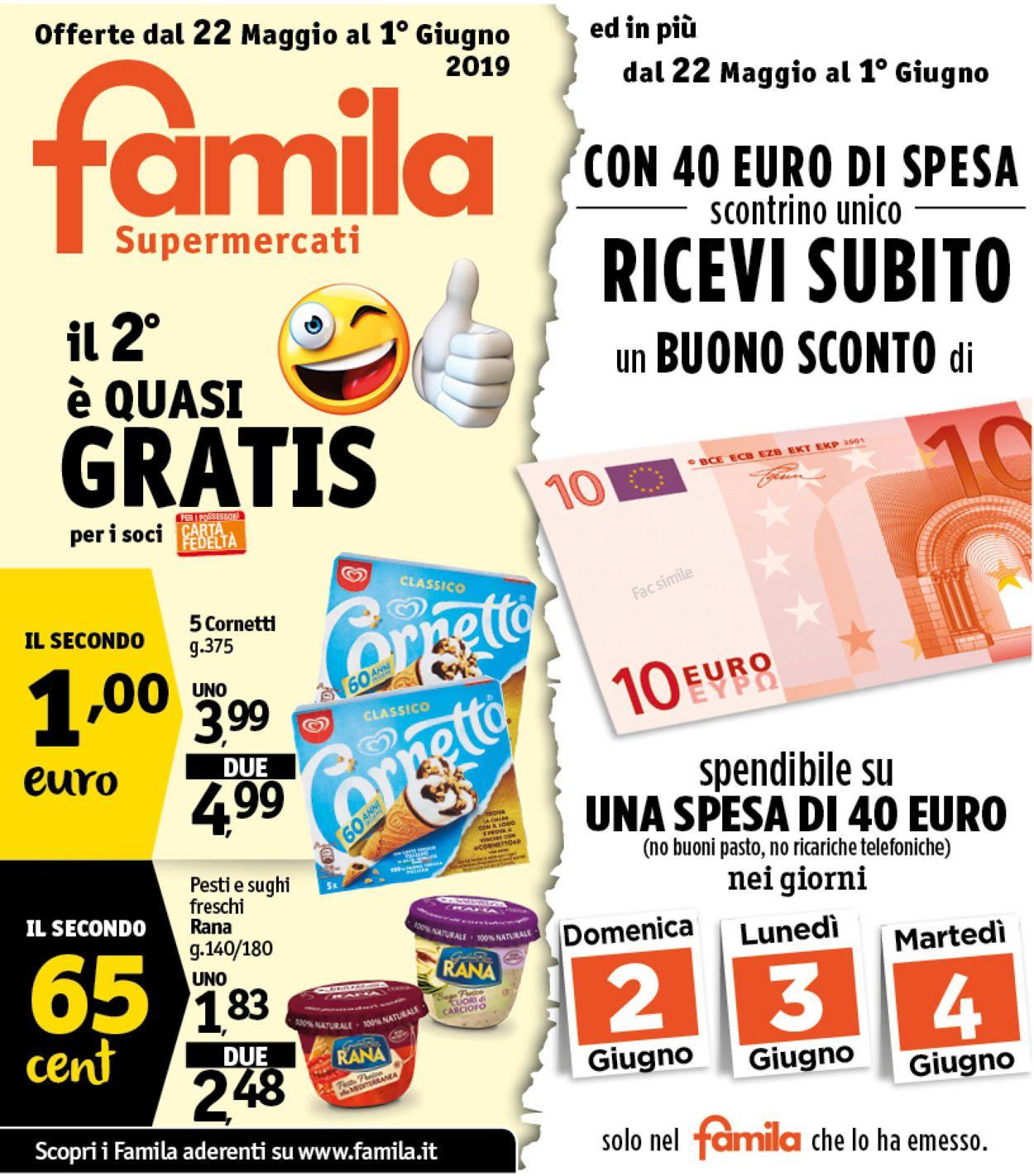 Volantino Famila - Offerte 22/05-01/06/2019
