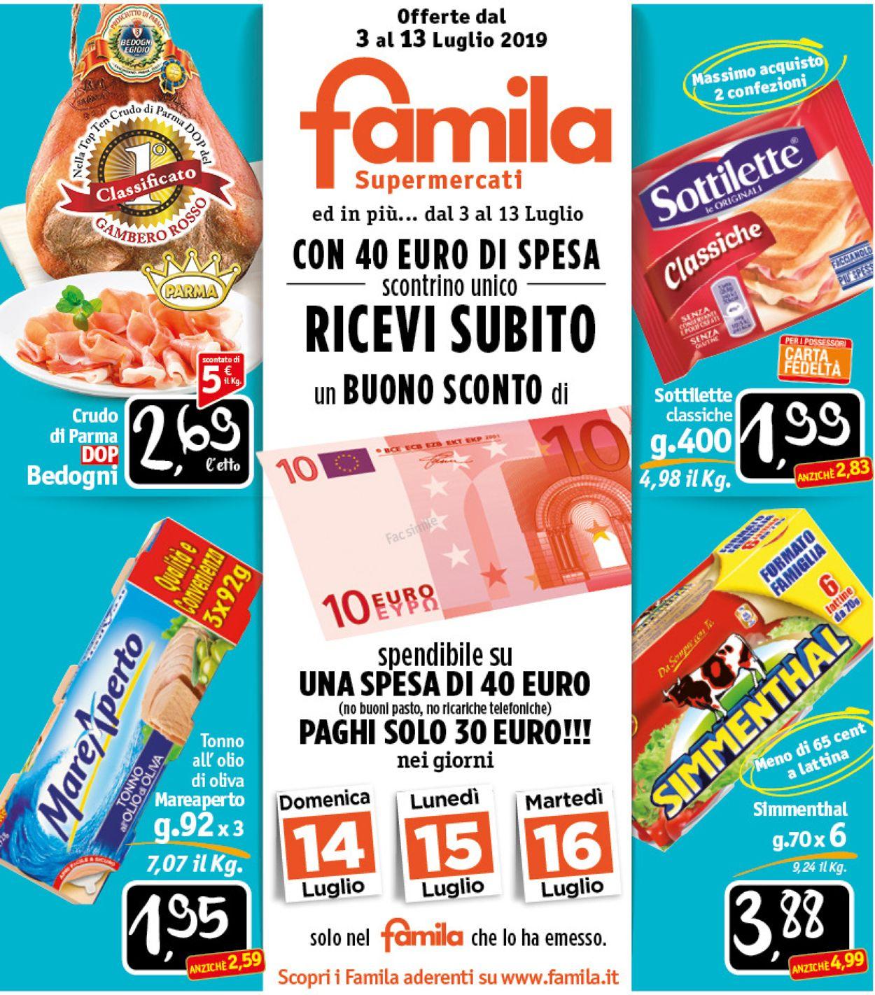 Volantino Famila - Offerte 03/07-13/07/2019