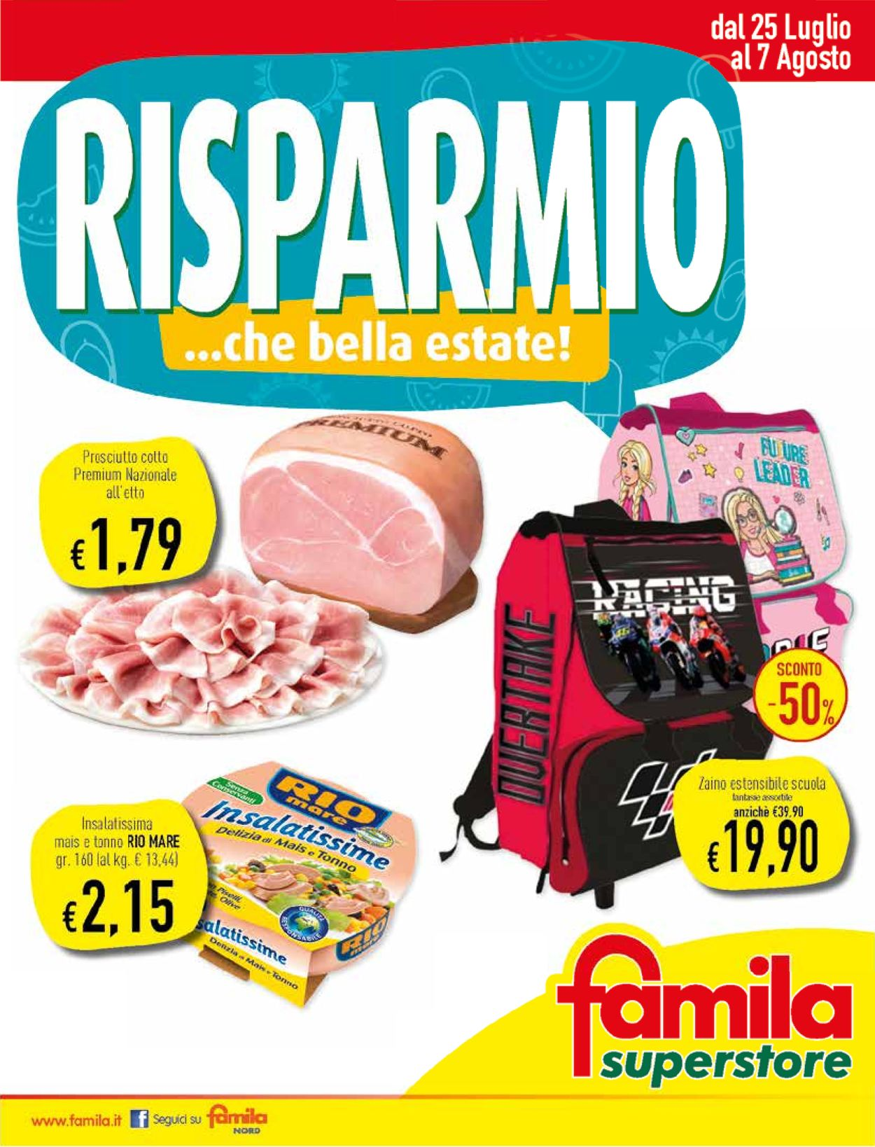 Volantino Famila - Offerte 25/07-07/08/2019