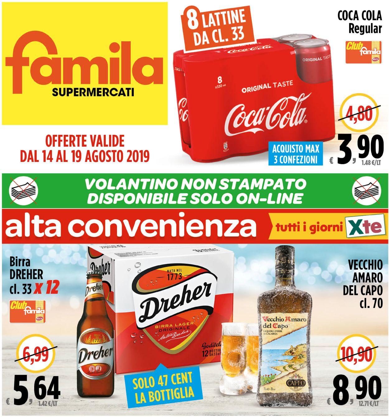 Volantino Famila - Offerte 14/08-19/08/2019