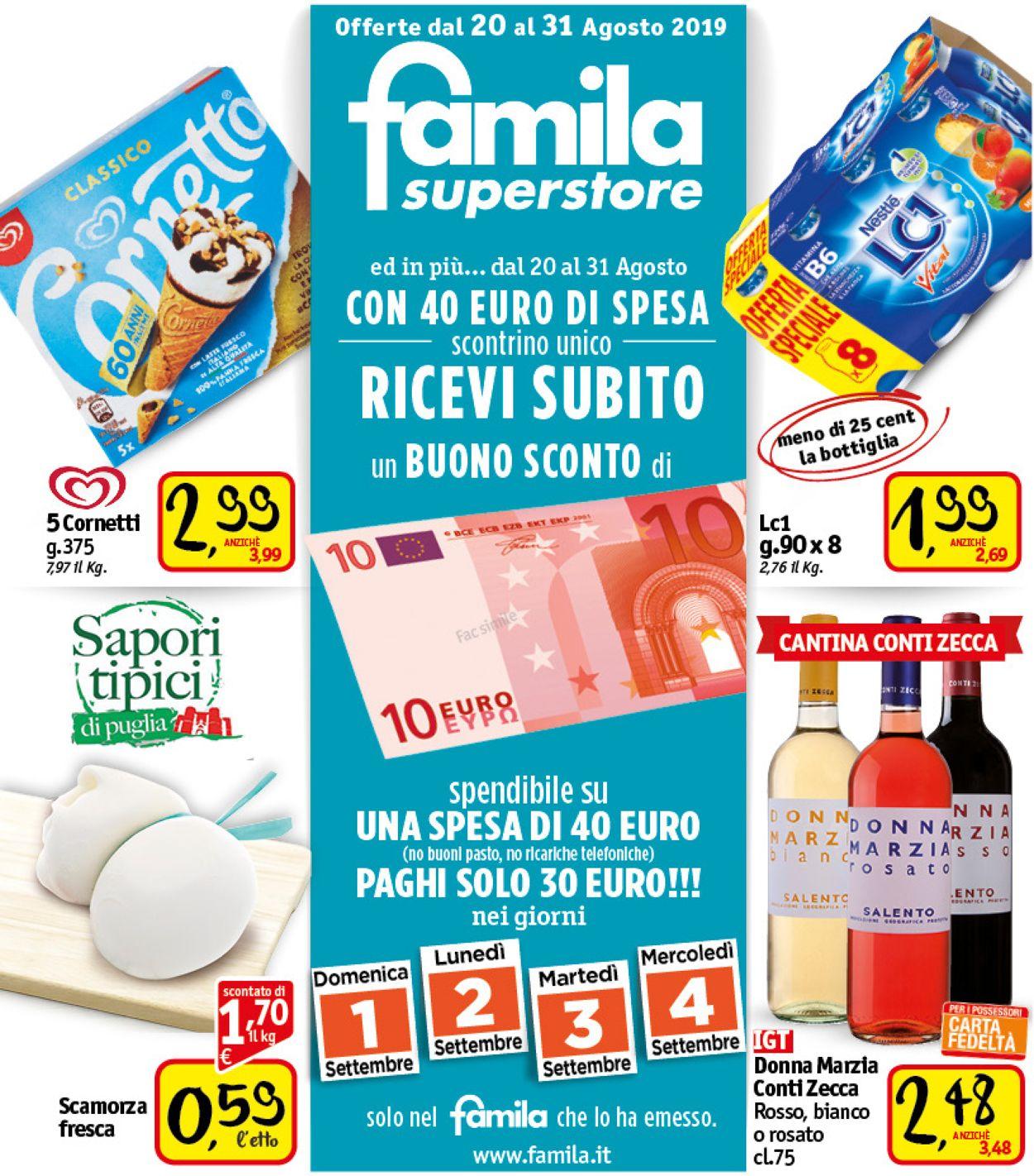 Volantino Famila - Offerte 20/08-31/08/2019