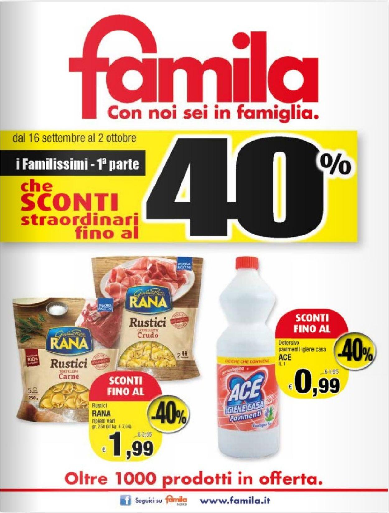 Volantino Famila - Offerte 16/09-02/10/2019