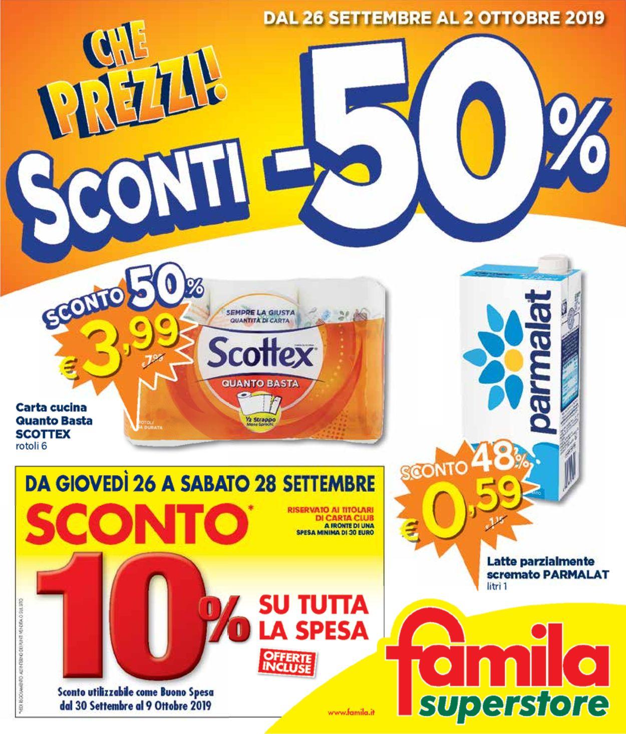 Volantino Famila - Offerte 26/09-02/10/2019