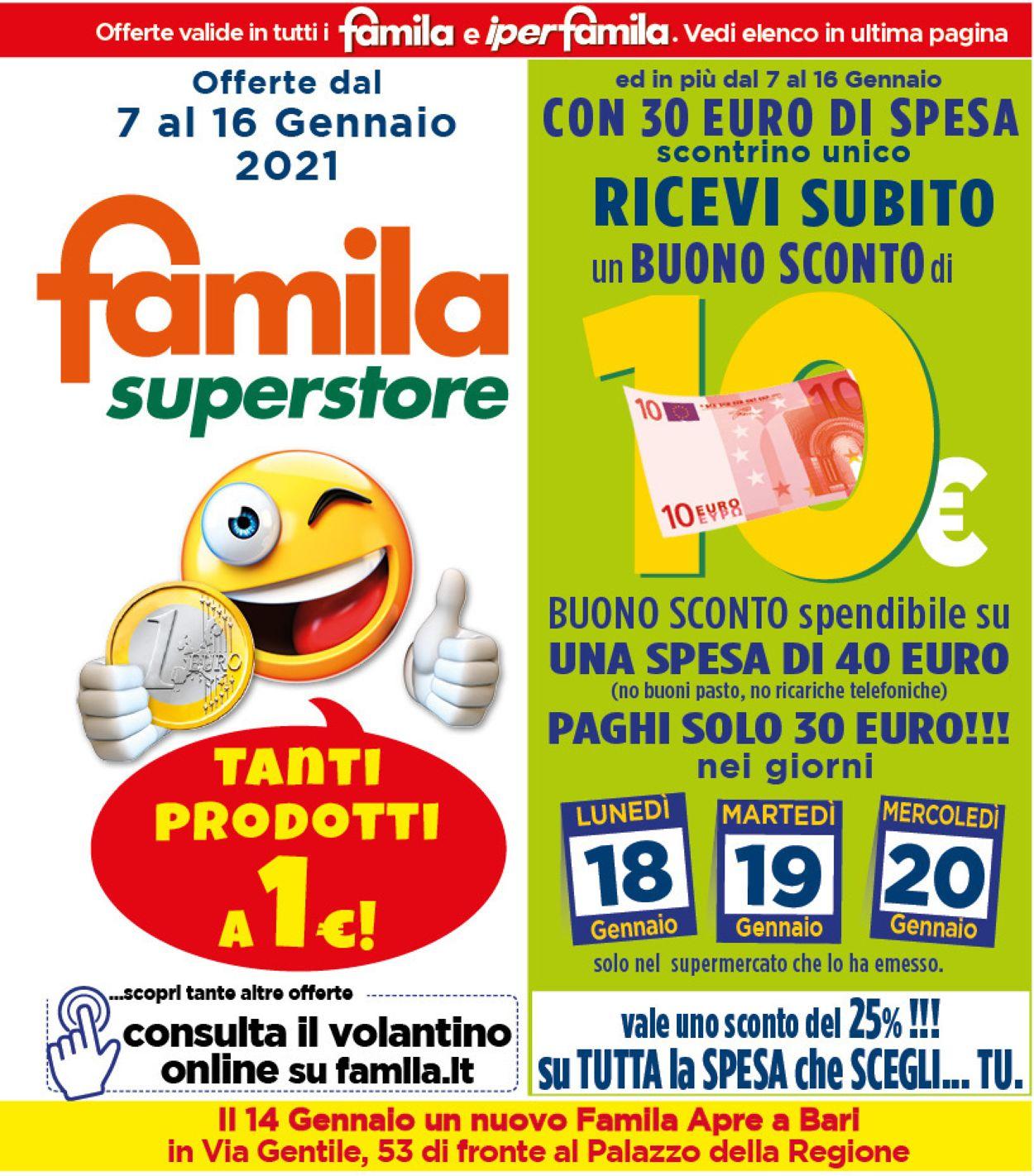 Volantino Famila - Offerte 07/01-16/01/2021