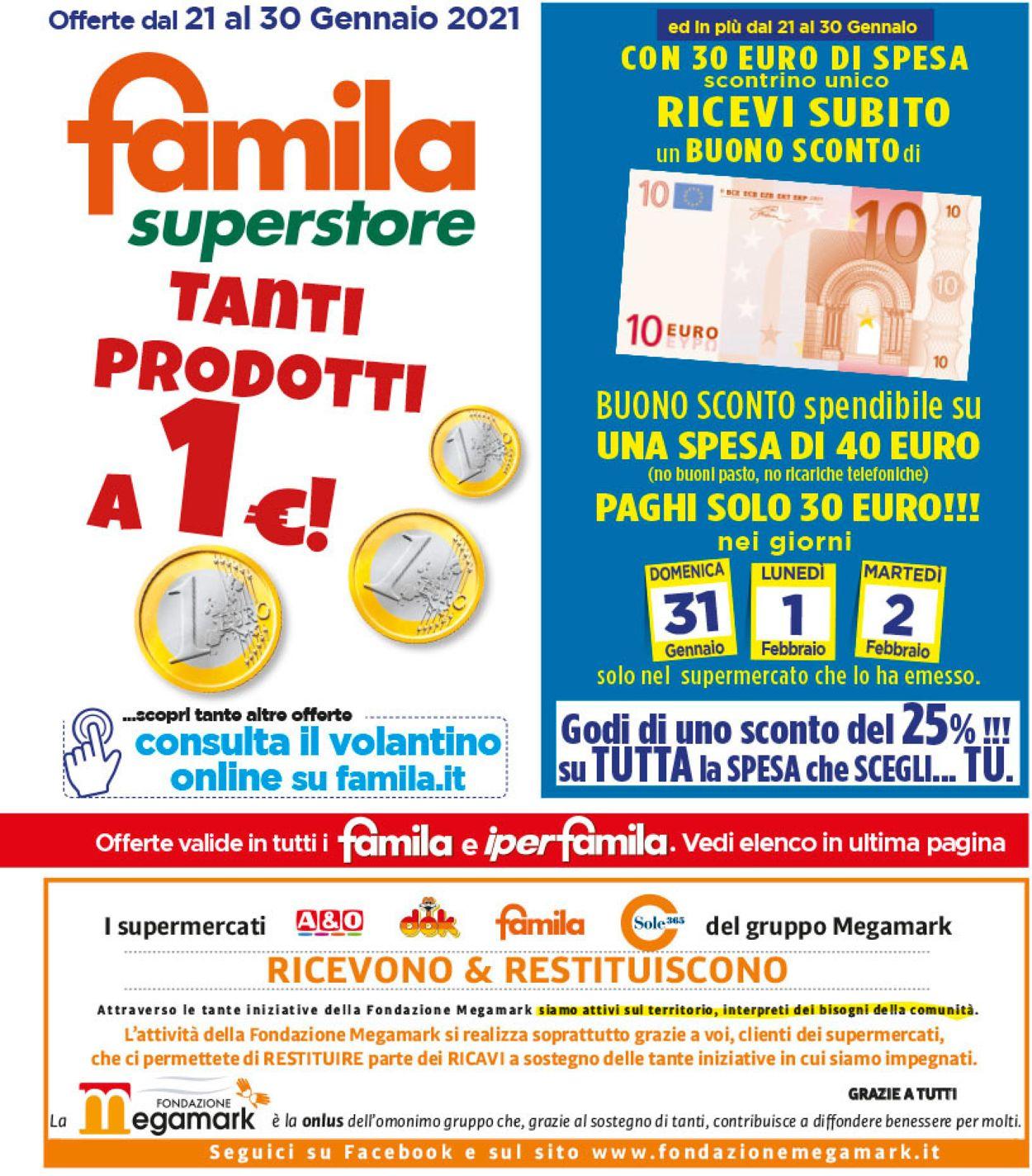 Volantino Famila - Offerte 21/01-30/01/2021