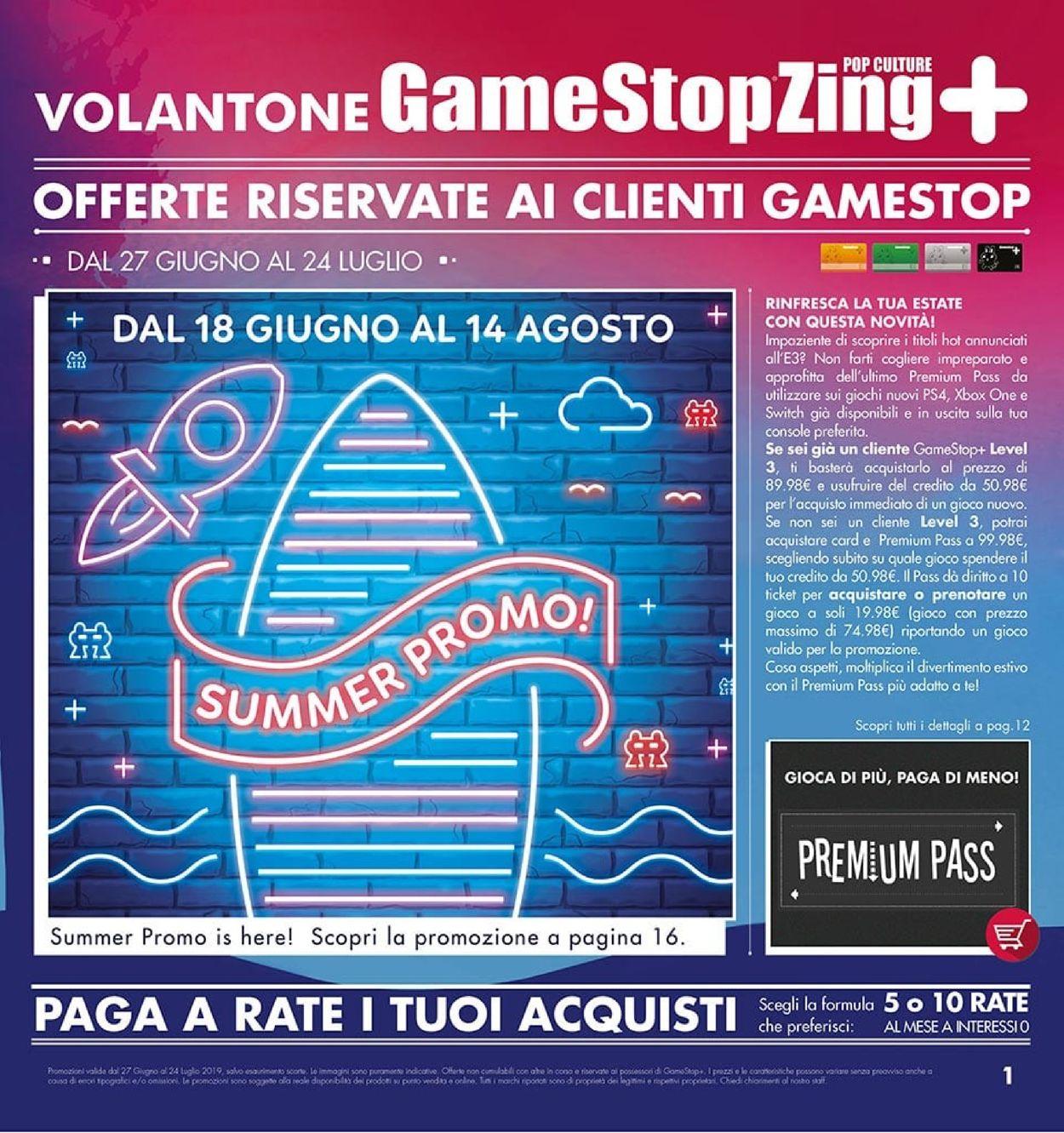 Volantino Gamestop - Offerte 27/06-24/07/2019