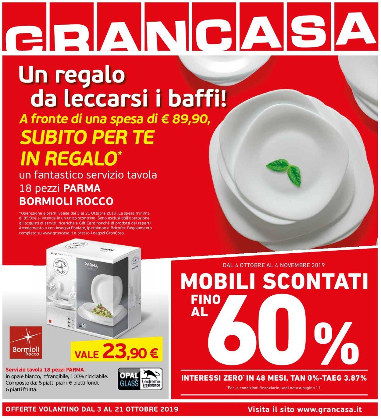 Volantino Grancasa - Offerte 03/10-21/10/2019
