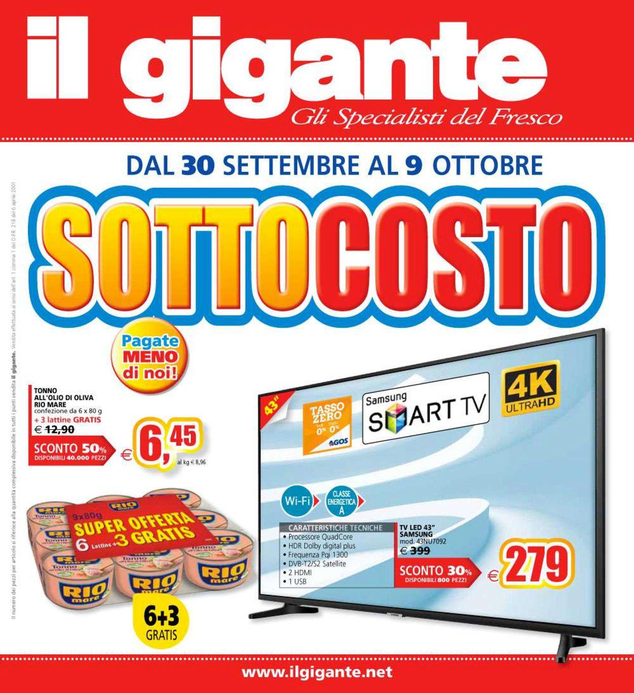 Volantino Il Gigante - Offerte 30/09-09/10/2019