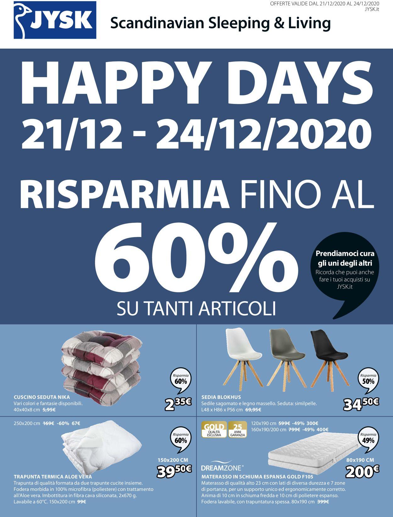 Volantino Jysk - Natale 2020 - Offerte 21/12-24/12/2020