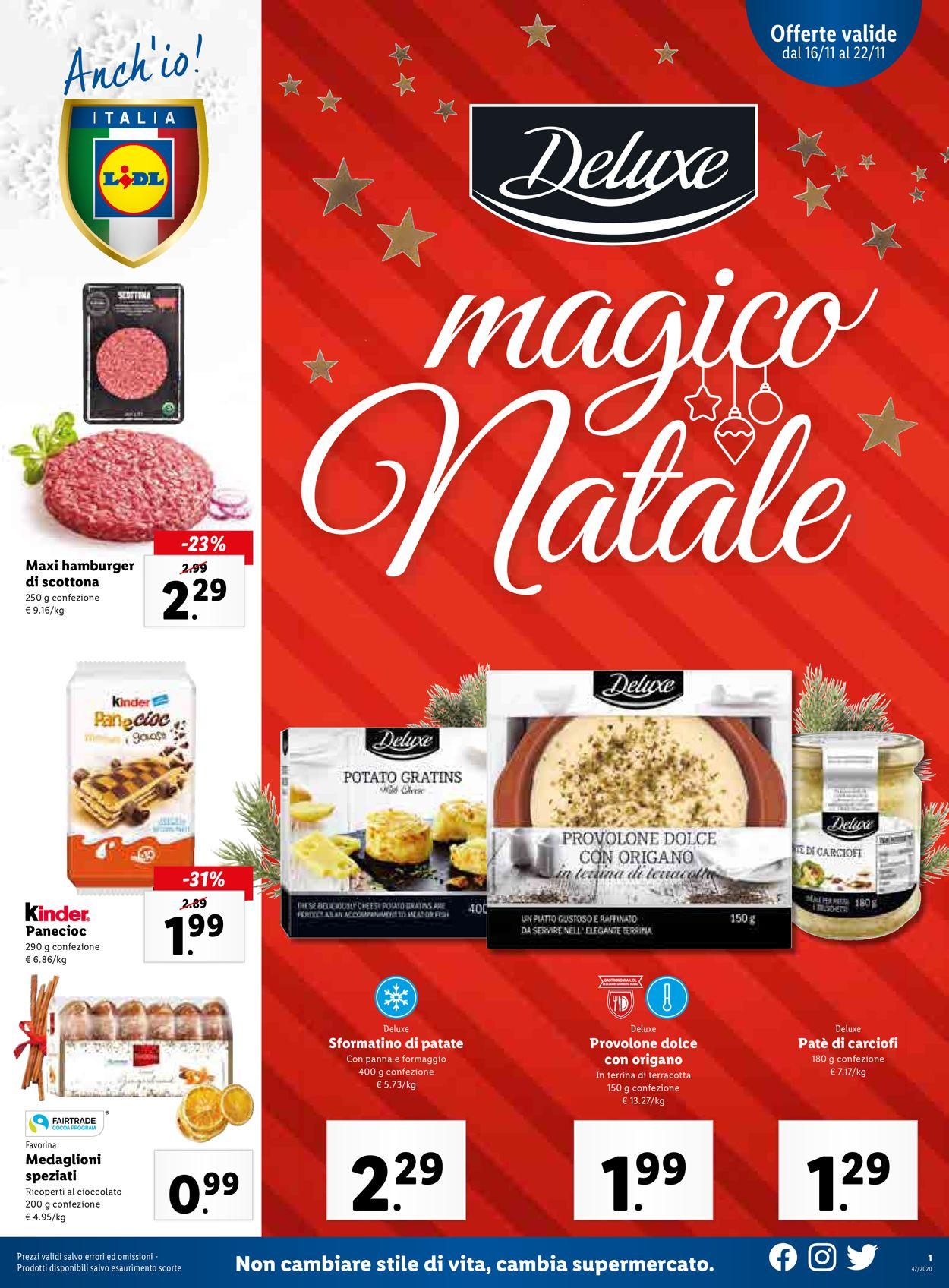 Volantino Lidl - Natale 2020 - Offerte 16/11-22/11/2020