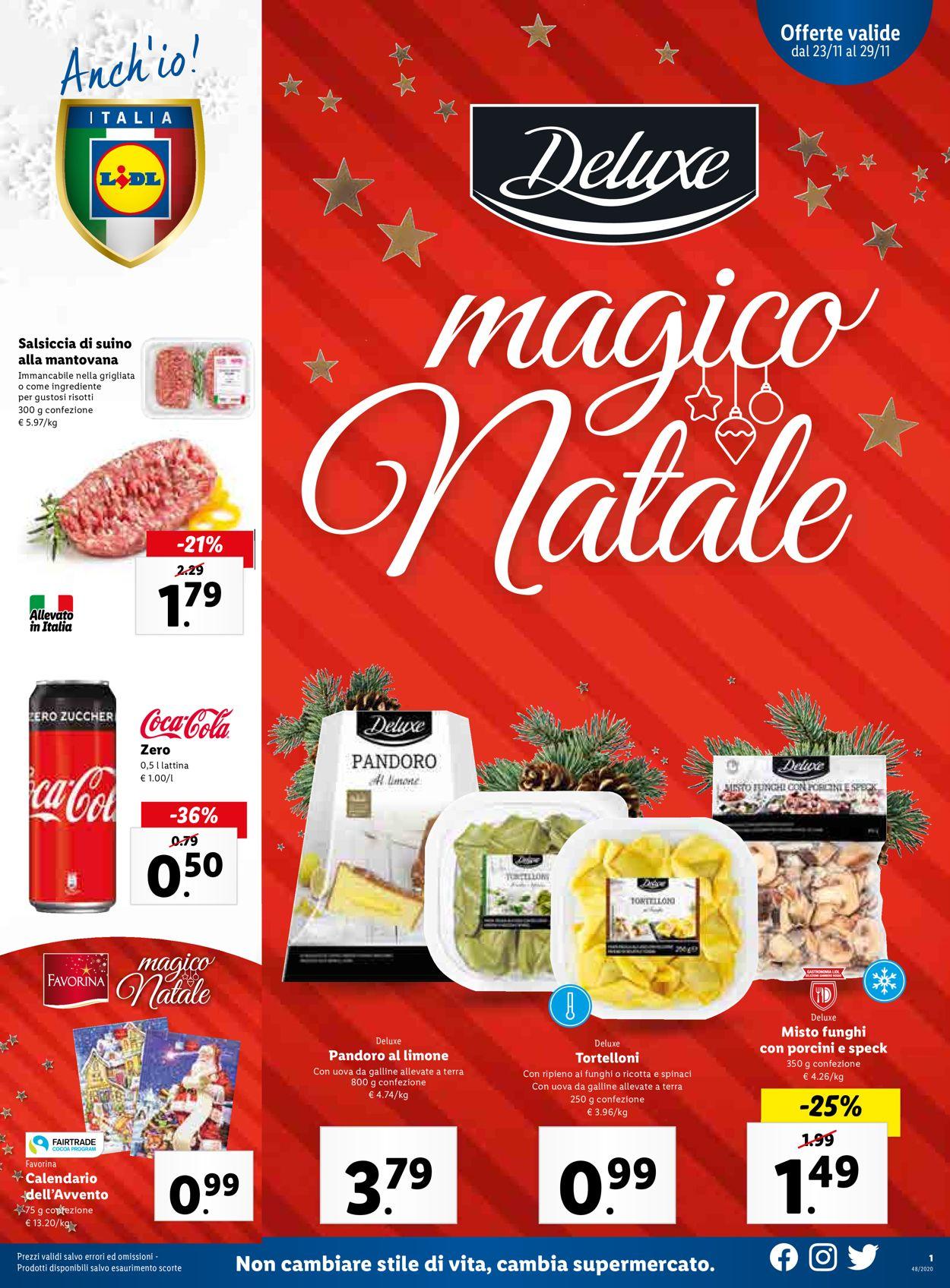 Volantino Lidl - Natale 2020 - Offerte 23/11-29/11/2020
