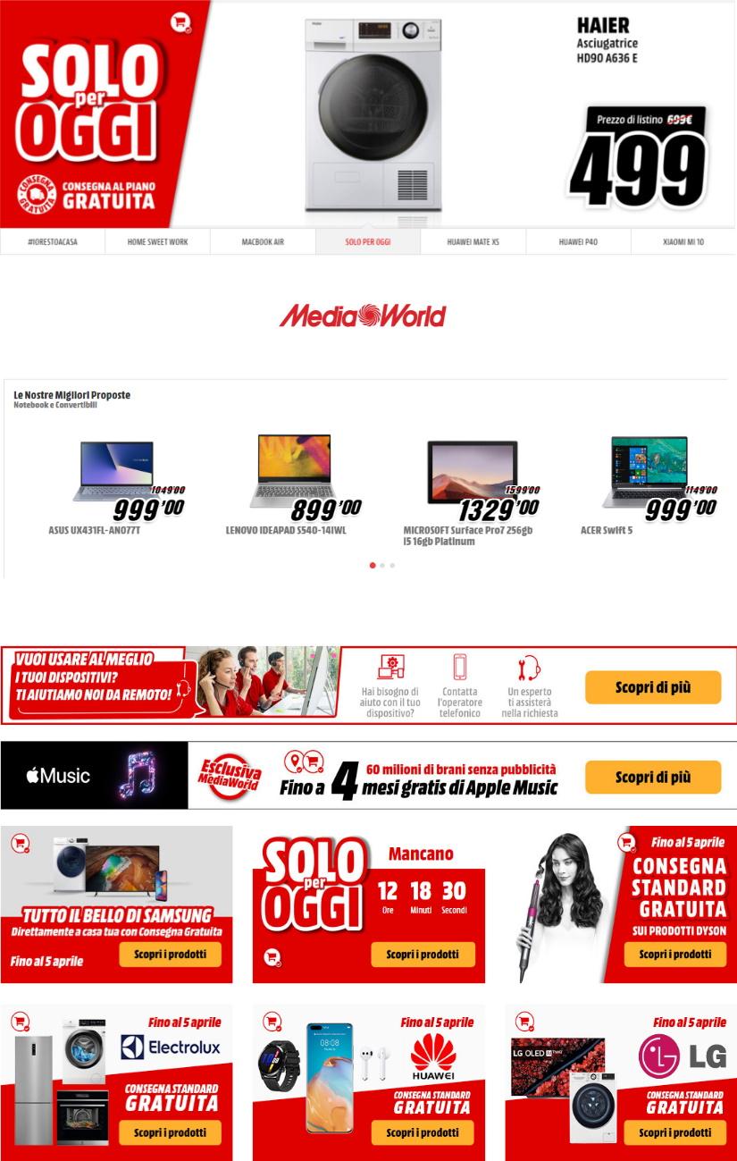 Volantino Media World - Offerte 31/03-14/04/2020
