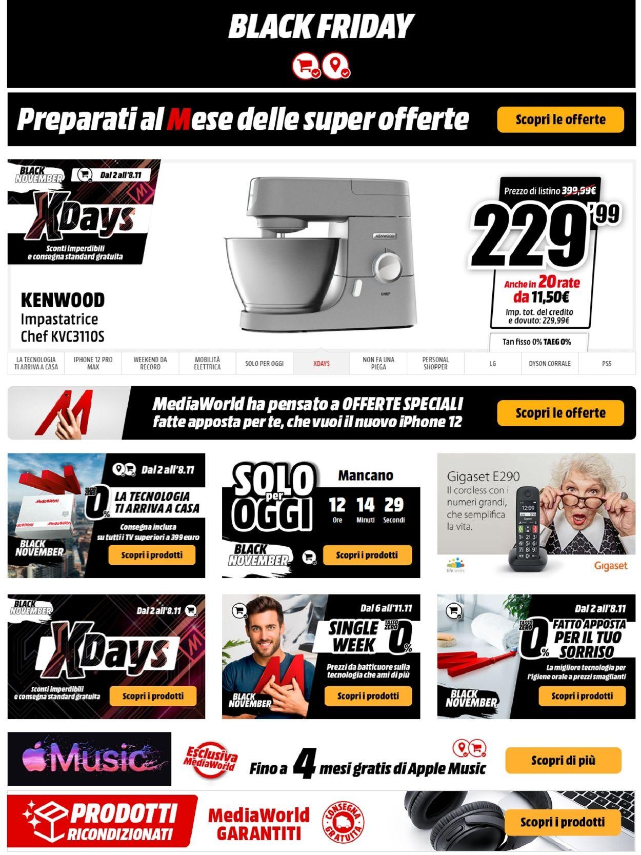 Volantino Media World - Black Friday 2020 - Offerte 06/11-11/11/2020