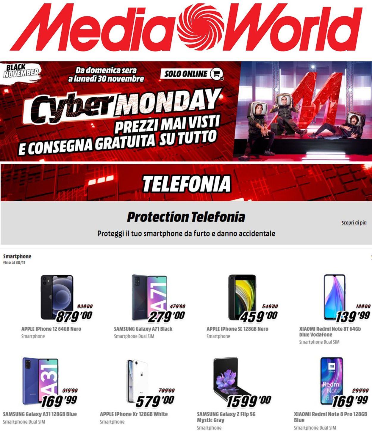 Volantino Media World Cyber Monday 2020 - Offerte 30/11-01/12/2020