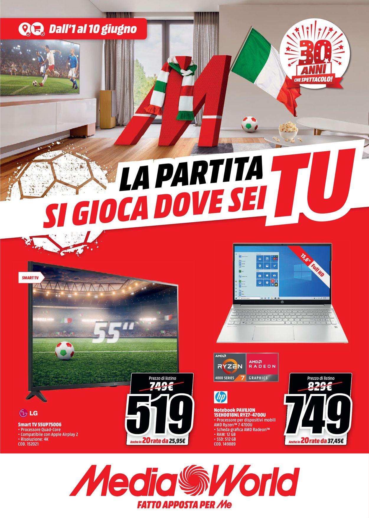 Volantino Media World - Offerte 01/06-10/06/2021