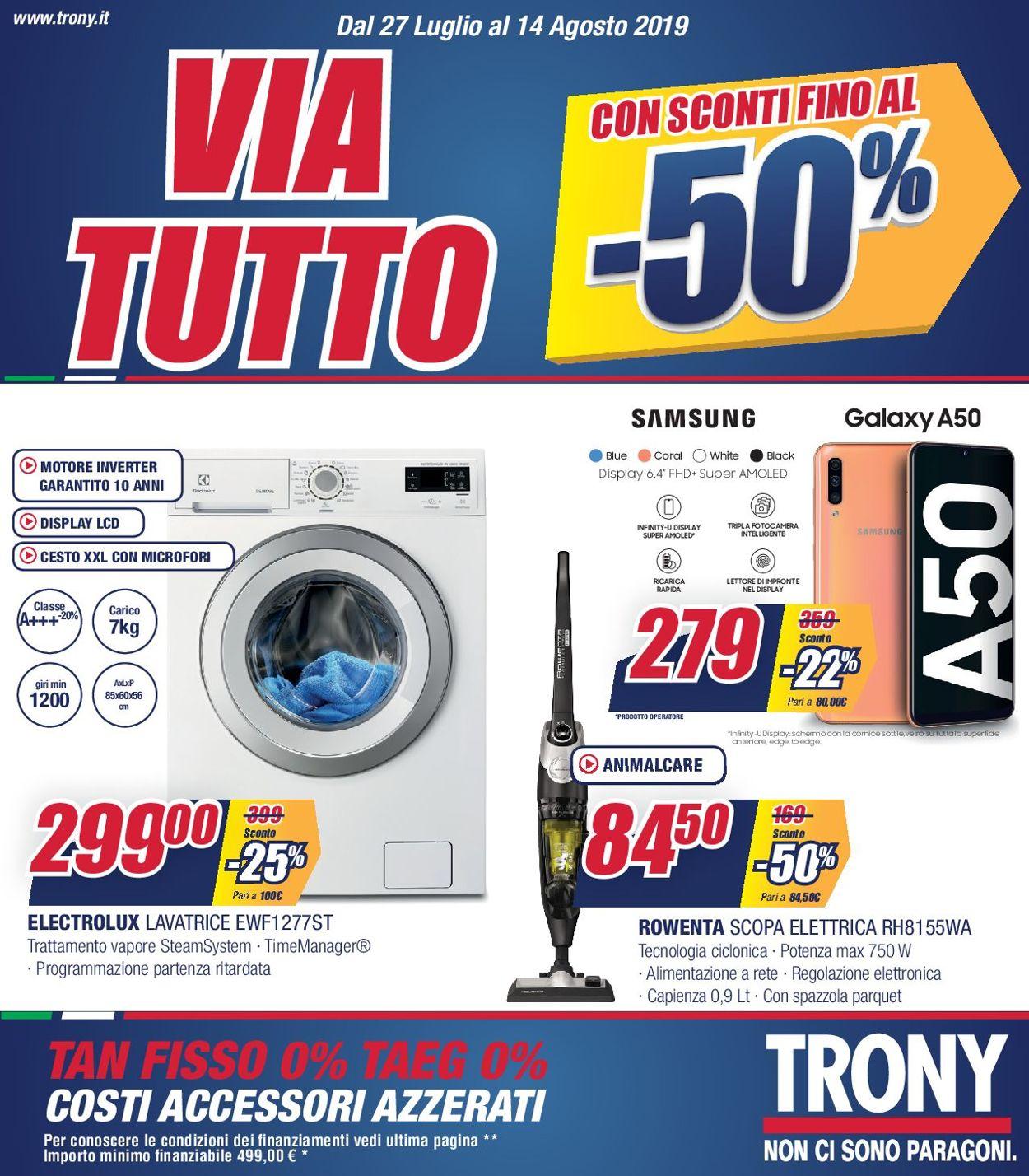 Volantino Trony - Offerte 27/07-14/08/2019