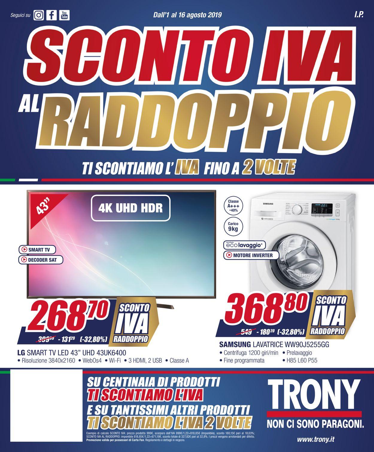 Volantino Trony - Offerte 01/08-16/08/2019