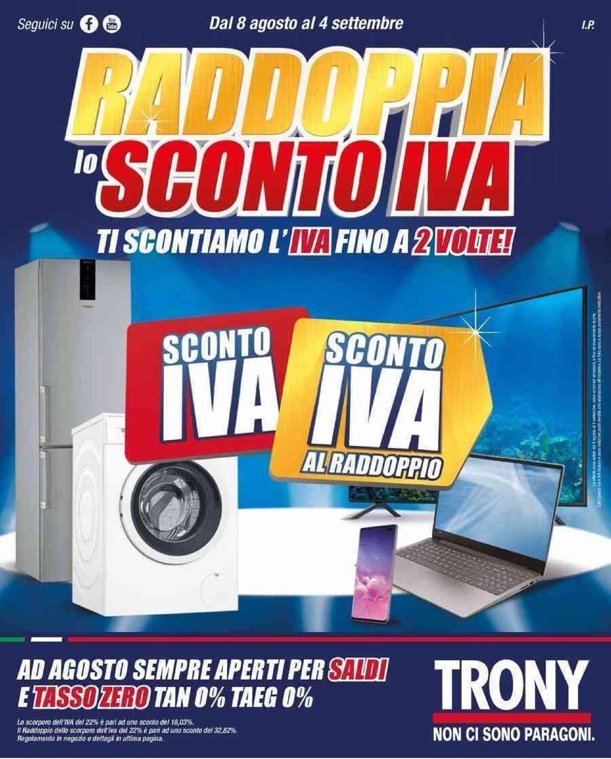 Volantino Trony - Offerte 08/08-04/09/2019
