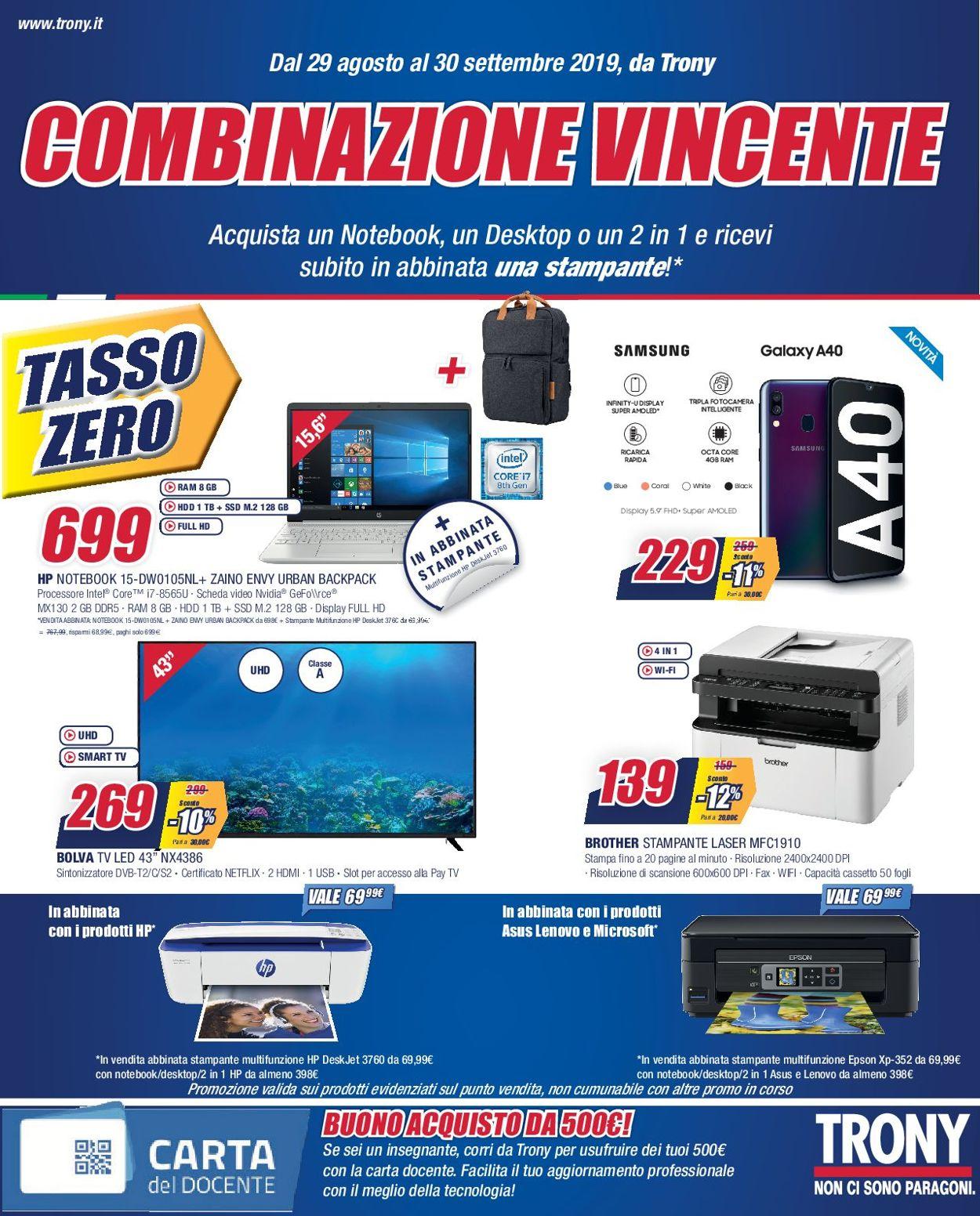 Volantino Trony - Offerte 29/08-30/09/2019