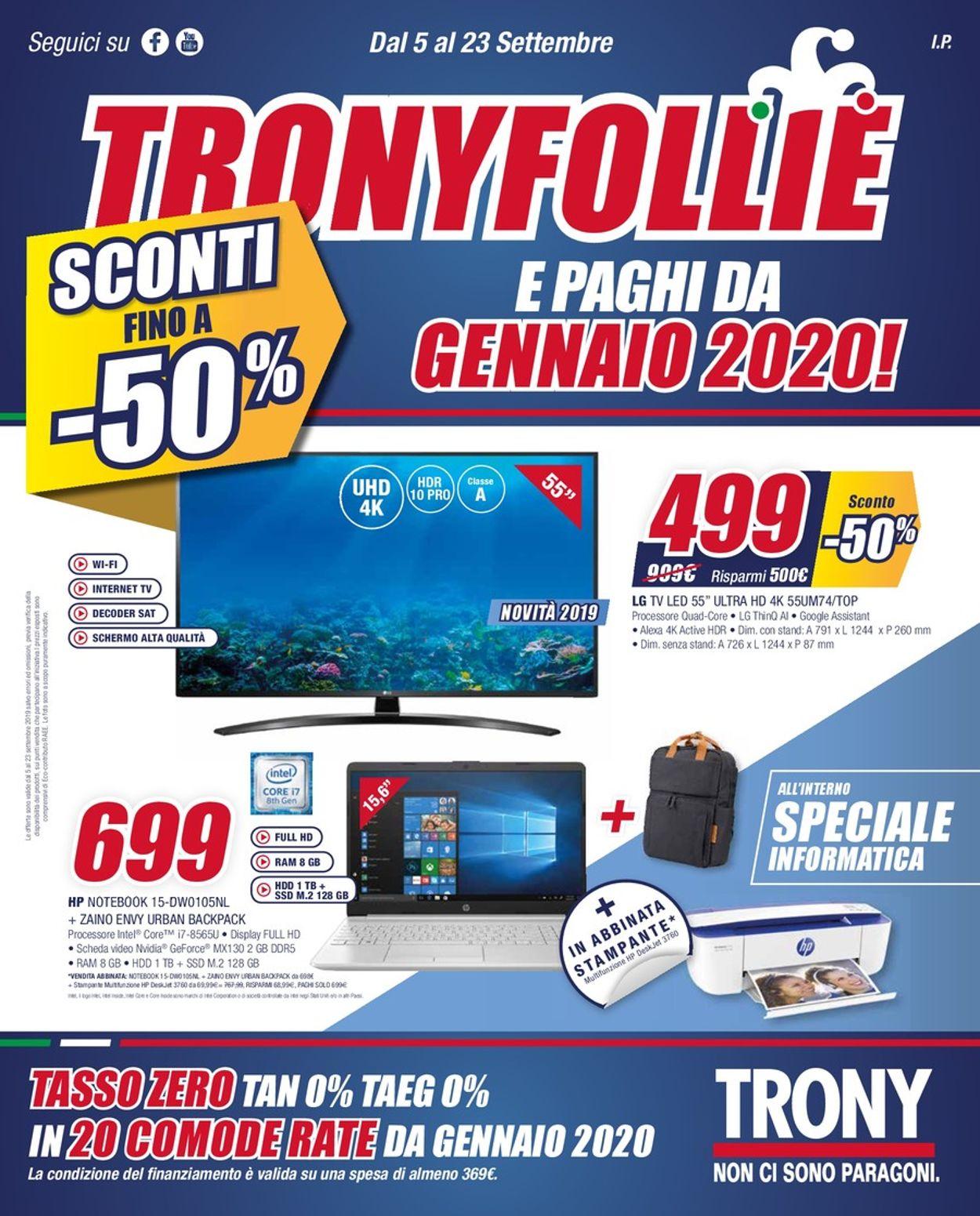 Volantino Trony - Offerte 05/09-23/09/2019