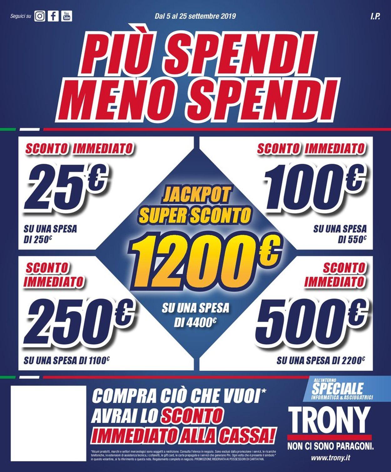 Volantino Trony - Offerte 05/09-25/09/2019
