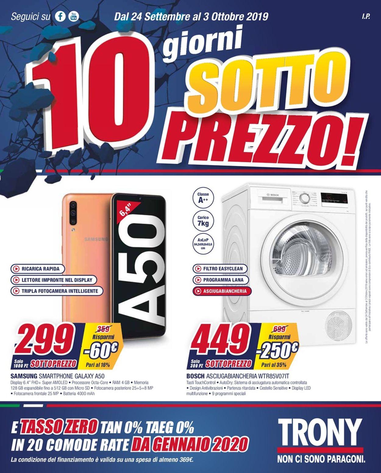 Volantino Trony - Offerte 24/09-03/10/2019
