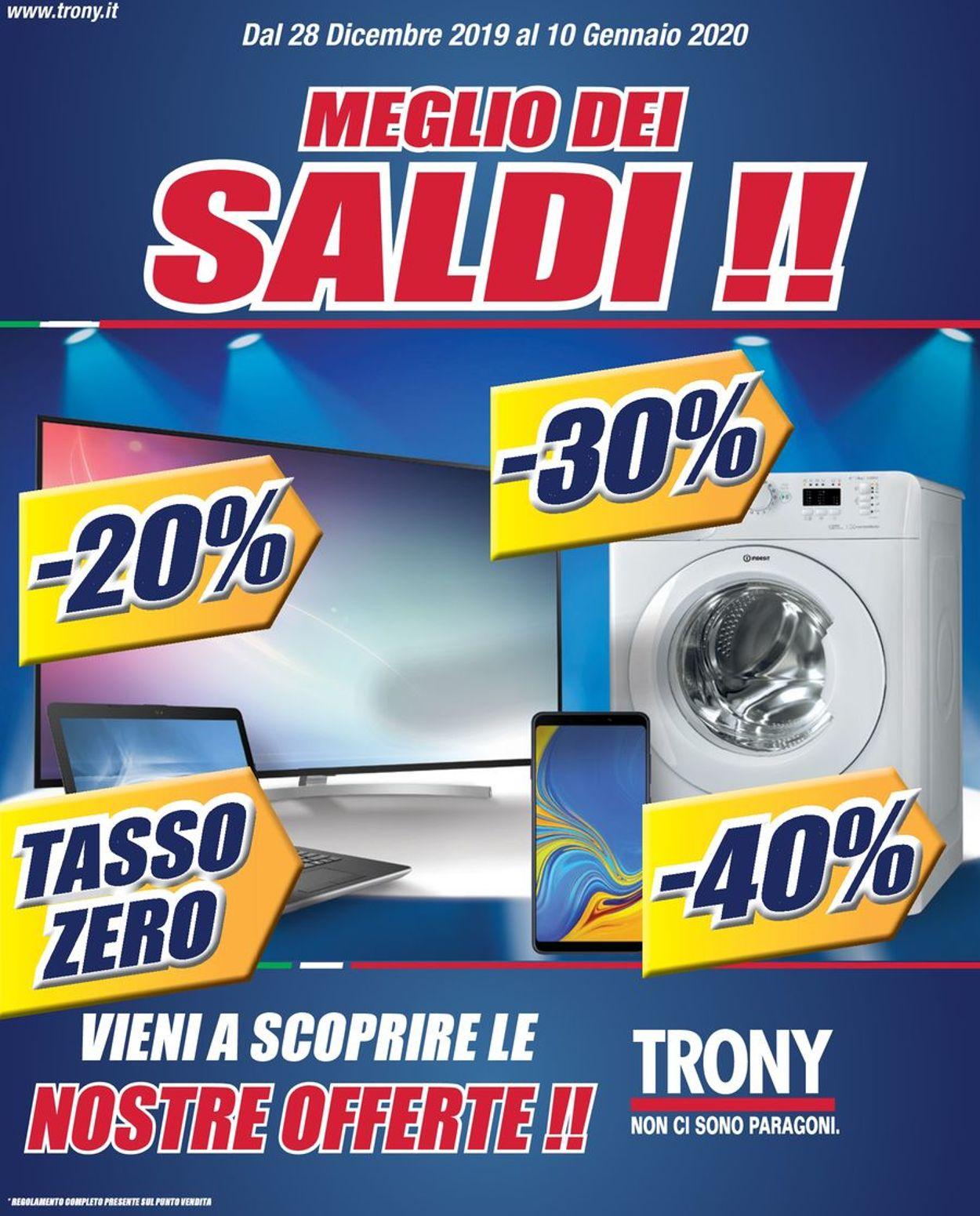 Volantino Trony - Offerte 28/12-16/01/2020