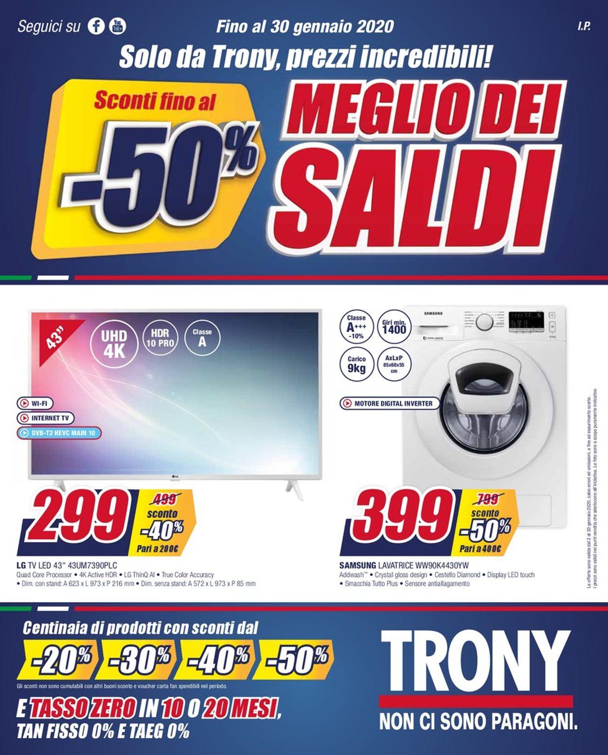 Volantino Trony - Offerte 02/01-30/01/2020