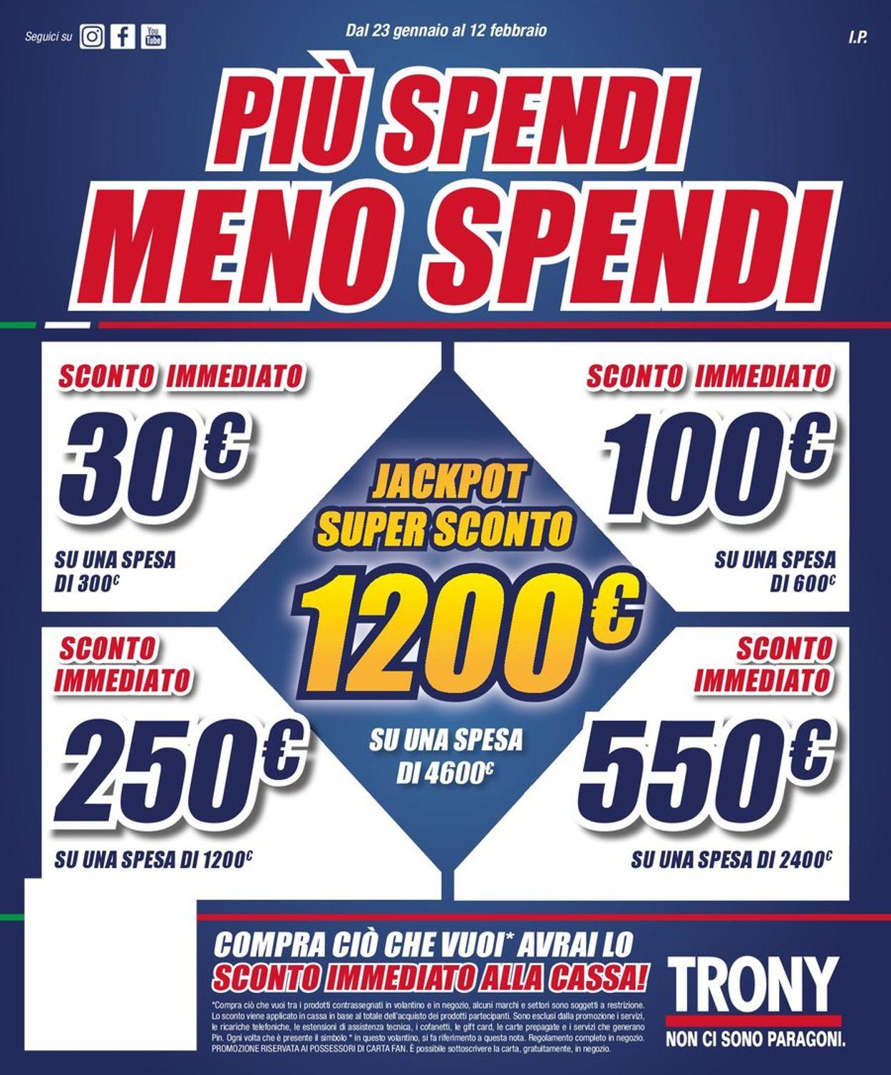 Volantino Trony - Offerte 23/01-12/02/2020