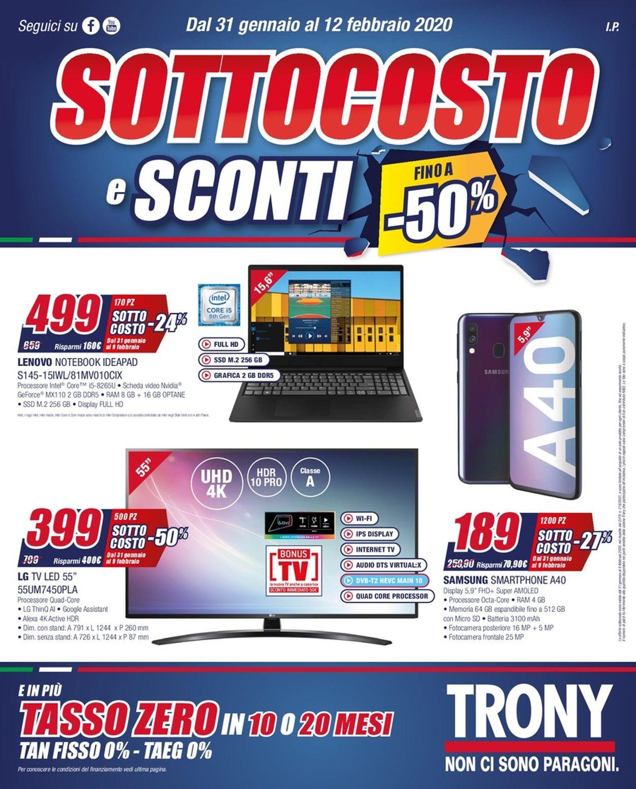 Volantino Trony - Offerte 31/01-12/02/2020
